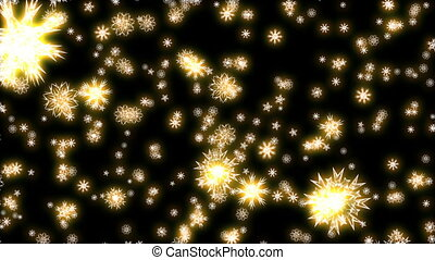 Christmas and New Year animation. Golden Christmas snowflakes on black background. Large snowflakes falling.