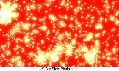 Christmas and New Year animation. Golden Christmas snowflakes on red background. A lot of golden snowflakes falling.