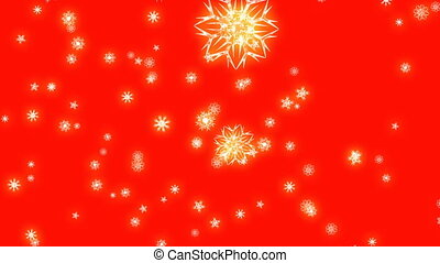 Christmas and New Year animation. Golden Christmas snowflakes on red background. Large snowflakes falling.