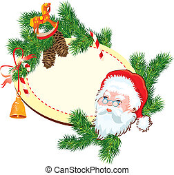 Christmas and New Year background - Santa Claus head, fir tree branches, pine cones and accessories - oval frame with empty space for text