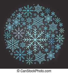 Christmas ball made from snowflakes