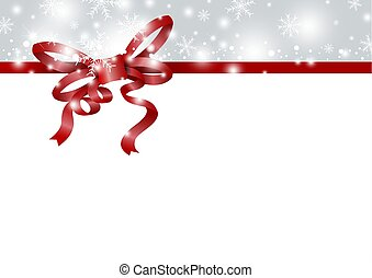 Christmas and new year background design of red ribbon and snowflake in winter with copy space vector illustration