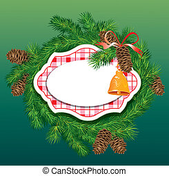 Christmas and New Year background - fir tree branches, pine cones and accessories - frame
