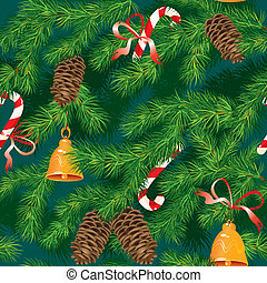 Christmas and New Year background - fir tree texture with xmas accessories - seamless pattern