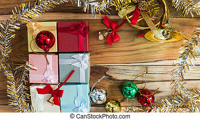 Christmas and New Year Background on a wooden.