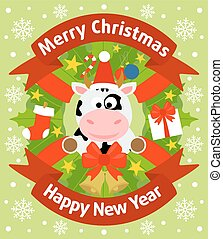 Christmas and New Year background with cow - Christmas and...