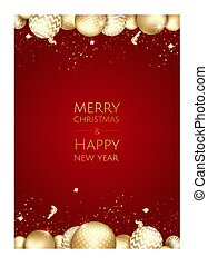 Christmas and New Year background with Gold balls. Xmas card. Vector Illustration.