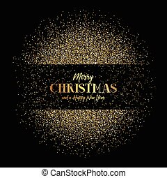 Christmas and New Year background with gold glitter