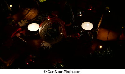 Christmas and New year background with presents, lights, candles and different decorations.