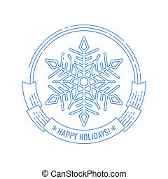 Christmas and New Year badge with snowflake. - Merry...