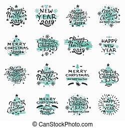 christmas and new year badges