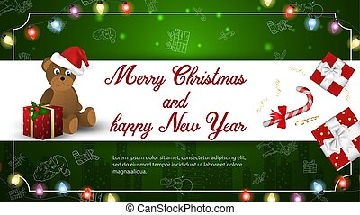 Christmas and new year banner greeting with space for text for decoration design cards little bear with boxes of gifts on a dark green background frame and garlands