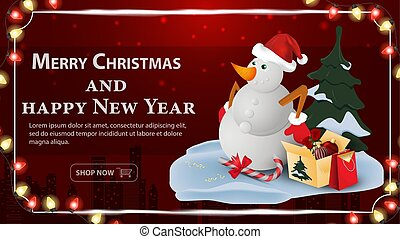 Christmas and new year banner greeting with space for text for decoration design cards snowman with boxes of gifts on a dark red background frame and garlands