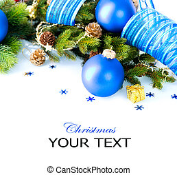 Christmas and New Year Baubles And Decoration border art...