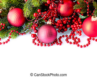 Christmas and New Year Baubles and Decorations isolated on ...