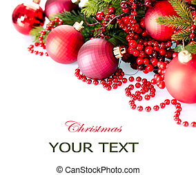 Christmas and New Year Baubles and Decorations isolated on...