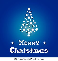 Christmas and New Year blue background with Christmas tree of stars.