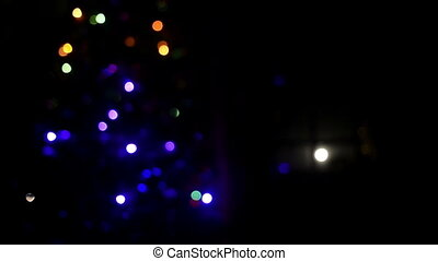 Christmas and new year blurred, blinking tree lights background