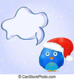 Christmas and New Year Card Design with Bird And Space for Text