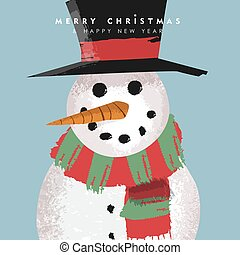 Christmas and New Year card funny snowman cartoon