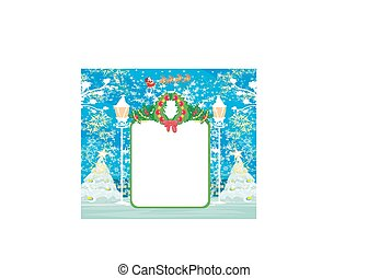 Christmas and New Year card template with winter landscape.