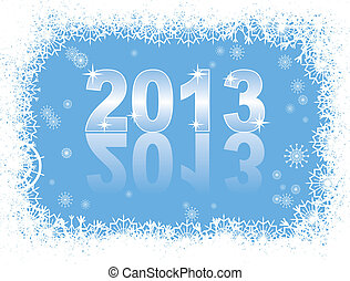 christmas and new year card with 2013 on a blue winter background