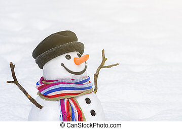 Christmas and New Year card with a smiling snowman