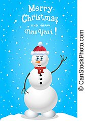 Christmas and new year card with cute snowman in santa hat and red scarf