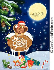 Christmas and New Year card with flying reindeers on sky backgro
