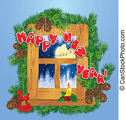 Christmas and New Year card with flying reindeers on sky background in wooden frosty window, fir tree branches, candle and horse toy.