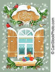 Christmas and New Year card with wooden frosty window, fir tree
