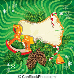Christmas and New Year card with wooden rocking horse toy and fir tree branches on green background. Vintage frame for holiday design.