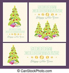 Christmas And New Year cards with decorations, trees and...