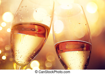 Christmas and New Year celebration with champagne. Two champagne glasses