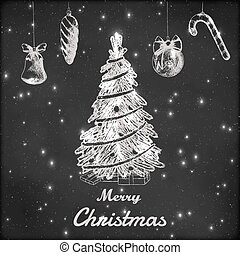 Christmas and New year chalk hand drawn vector illustration. Xmas tree with ornaments sketch, vintage style. Grunge blackboard background.