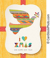Christmas and new year colorful dove card design