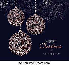 Christmas and New Year copper ornament card