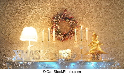Christmas and New Year decorated interior room.