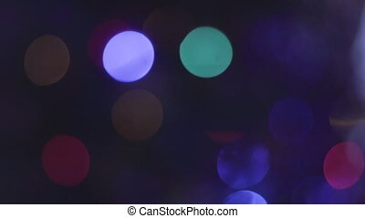 Abstract Blurred Bokeh Holiday Background. Blinking Garland....