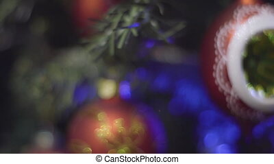 Christmas and New Year Decoration. Blinking Garland. Christmas Tree Lights Twinkling.