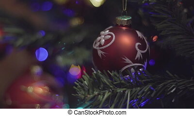 Christmas and New Year Decoration. Blurred Bokeh Holiday...