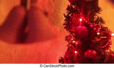Christmas and New Year Decoration. Blurred Bokeh Holiday Background. Blinking Garland. Christmas Tree Lights Twinkling.