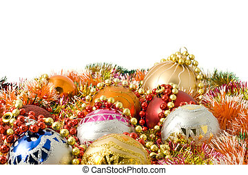 Christmas and New Year decoration - colorful tinsel and balls