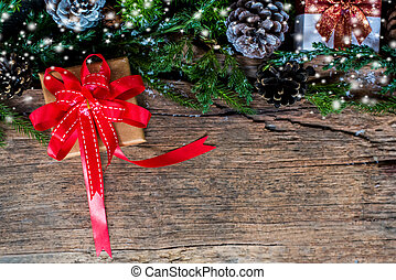 Christmas and New Year decoration. Copy space for text on wood background.