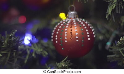 Christmas and New Year Decoration in dots. Abstract Blurred...