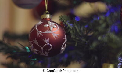 Christmas and New Year Decoration in red and white colors on...
