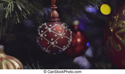 Christmas and New Year Decoration in red color. Abstract...