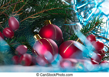 Christmas and New Year Decoration isolated on white background. Border art design with holiday bauble. Beautiful tree closeup decorated red balls, holly berry.