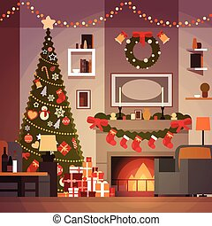 Christmas And New Year Decoration Of Living Room Pine Tree , Fireplace And Garlands Holidays Home Interior