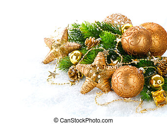 Christmas and New Year Decoration over white snow background